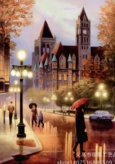 Gothic Architecture Rainy Street 5D DIY Diamond Painting Cross Stitch Of Diamonds Embroidery Mosaic 20*30cm For Home Room Decor