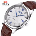 Nary Watches Men Business Fashion Leather Wristwatch Waterproof Watches Quartz Watch Personality Casual Relogio W0838