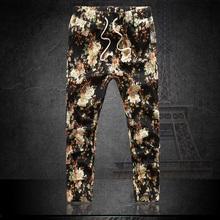 New 2015 Thin section Casual Jogger Pants Mens Harem Trousers Floral Print Ankle Length Capri Linen Pants 5XL 6XL