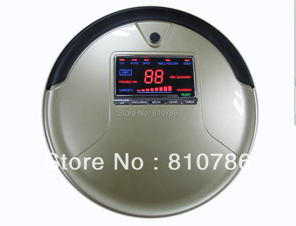 Robot Vacuum Cleaner 788A with Big LCD Screen/Big Rubblishi Box 1L/ Li-ion Battery ,Auto Recharge,UV lights(China (Mainland))