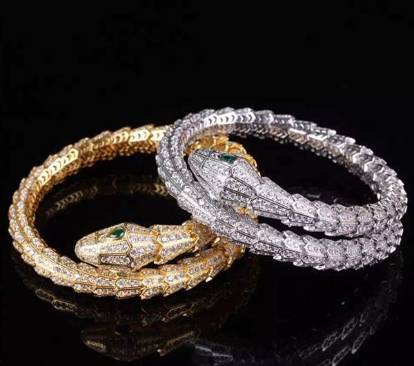 Designer Fashion 925 Sterling Silver Jewelry Platinum/Gold/Rose Gold Plated 3A Cubic Zirconia Party Snake Bangle<br>