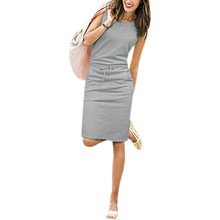 Buy Summer Casual Dress Women Sleeveless Cotton Slim Pencil Dresses 2017 Sexy Work Office Dress Fit Vestidos Mujer Pockets J2218 for $10.48 in AliExpress store