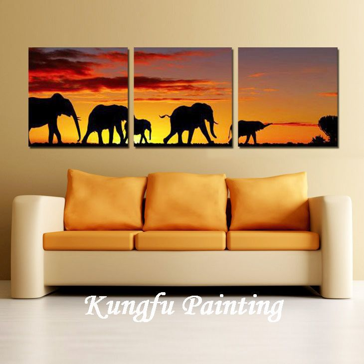 3-1362 100% Handmade unframed good quality <font><b>home</b></font> <font><b>decoration</b></font> wall art oil painting landscape <font><b>african</b></font> elephant paintings