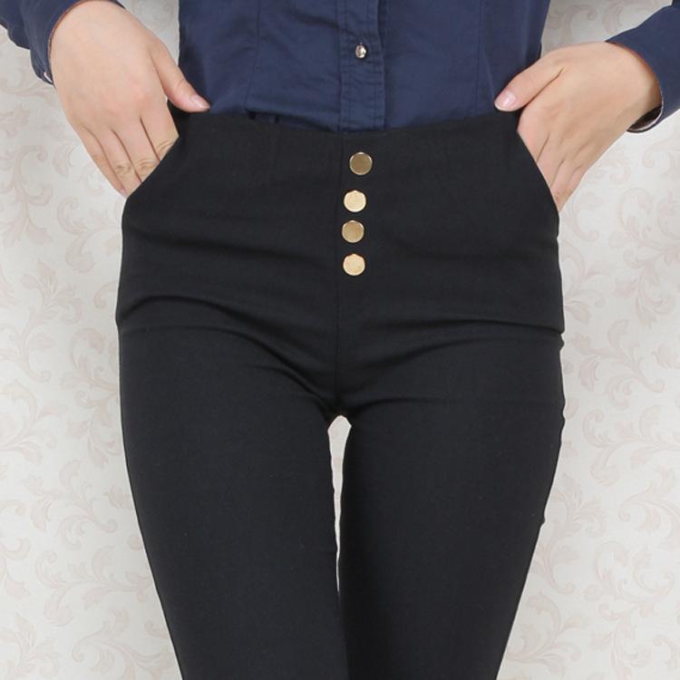 New Women Cotton Pants Autumn Winter High Waist Pants Business Women unformal Trousers Ladies' Elastic Slim Pencil Leggings(China (Mainland))