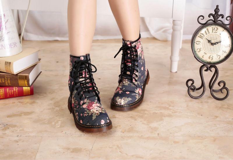 2014 Fashion Punk 8-eye 1460 Camouflage Floral Leopard Print Black