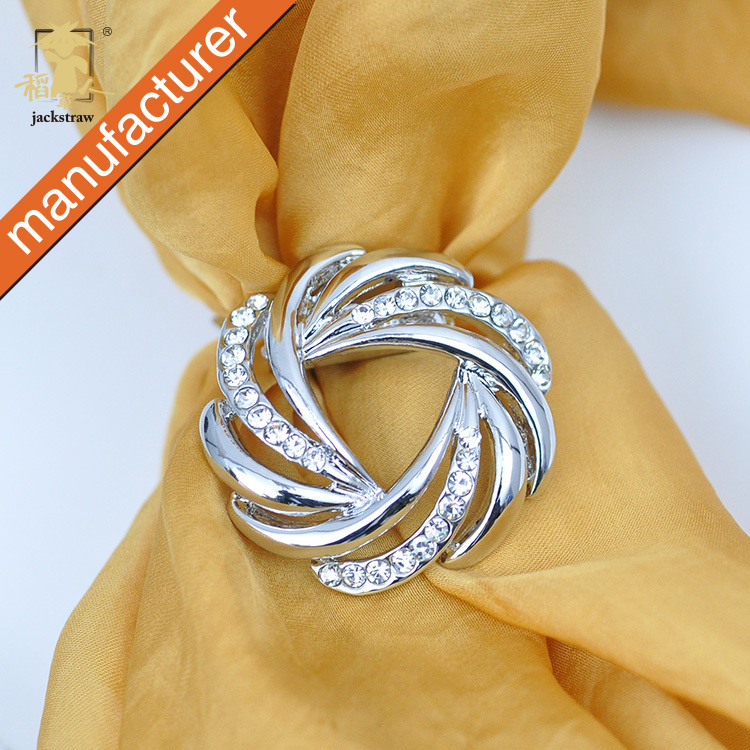 2016 NEWEST ! Elegant Newest Silk Scarf clip Buckle Brief Lines Accessories Hand Painting Silk Scarf Buckle for girl party(China (Mainland))