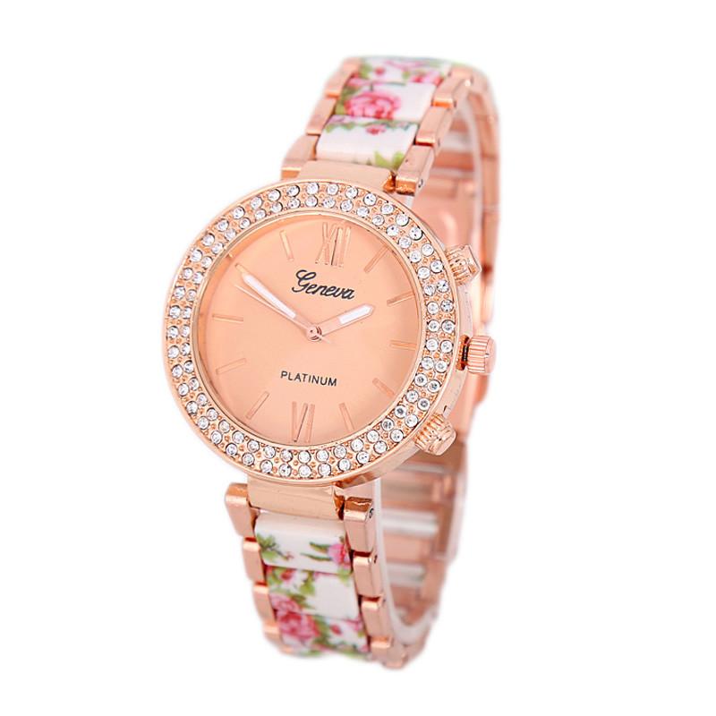 Relojes Hombre 2015 Casual Quartz Watches Diamonds Round Flowers Bands Stainless Steel Watch Faux Keramic Elegant Women Wrist<br><br>Aliexpress