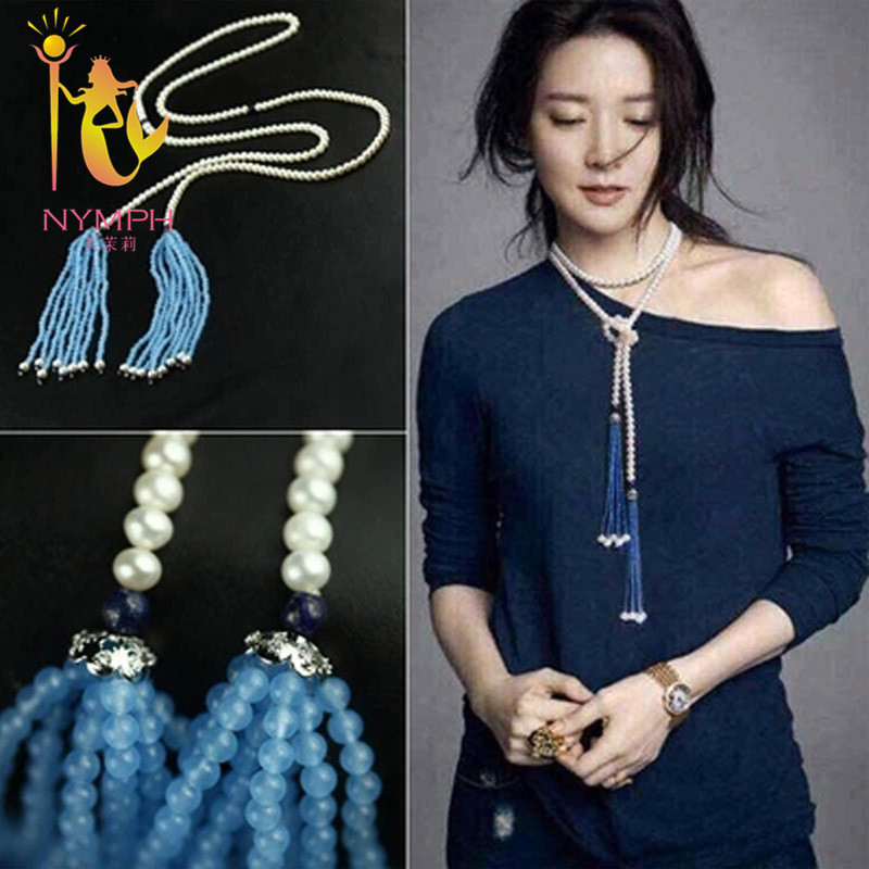 NYMPH brand new design Natural pearl sweater necklace ,6-7mm white &amp; blue chalcedony 140cm long necklace for women <br><br>Aliexpress