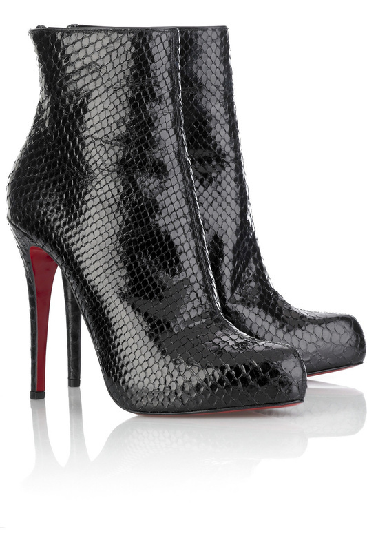 Black high-heeled shoes serpentine pattern back zipper boots<br><br>Aliexpress