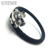 Vintage Western Double Lion Head Cool Bracelet Men and women Braided Leather Bracelets Wholesale Bracelet hot selling(China (Mainland))