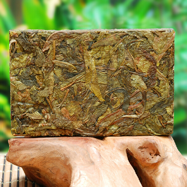 250g Chinese puer tea brick raw puerh tea porn Iceland old brick Yunnan yellow leaves drying