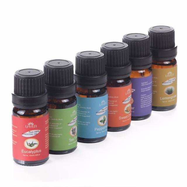 6 pcs/set Gift Box 100% Pure 10ml Essential Oils for Bath Massage Spa Aromatherapy 6 different Aromas Essential oils M0901