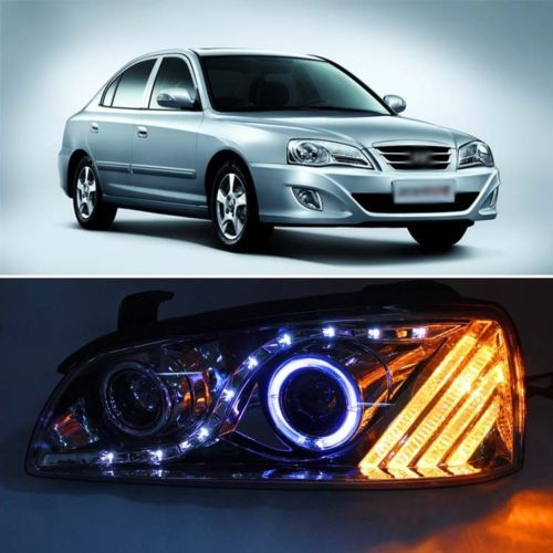 Smoke Black LED Angel Eye DRL Projector Headlight for Hyundai Elantra 04-06(China (Mainland))