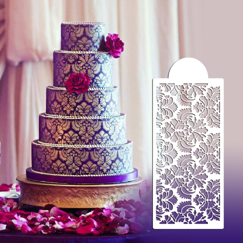Cake Decorating Flower Templates : New Style Flower Design Stencil for Wedding Cake Fondant ...