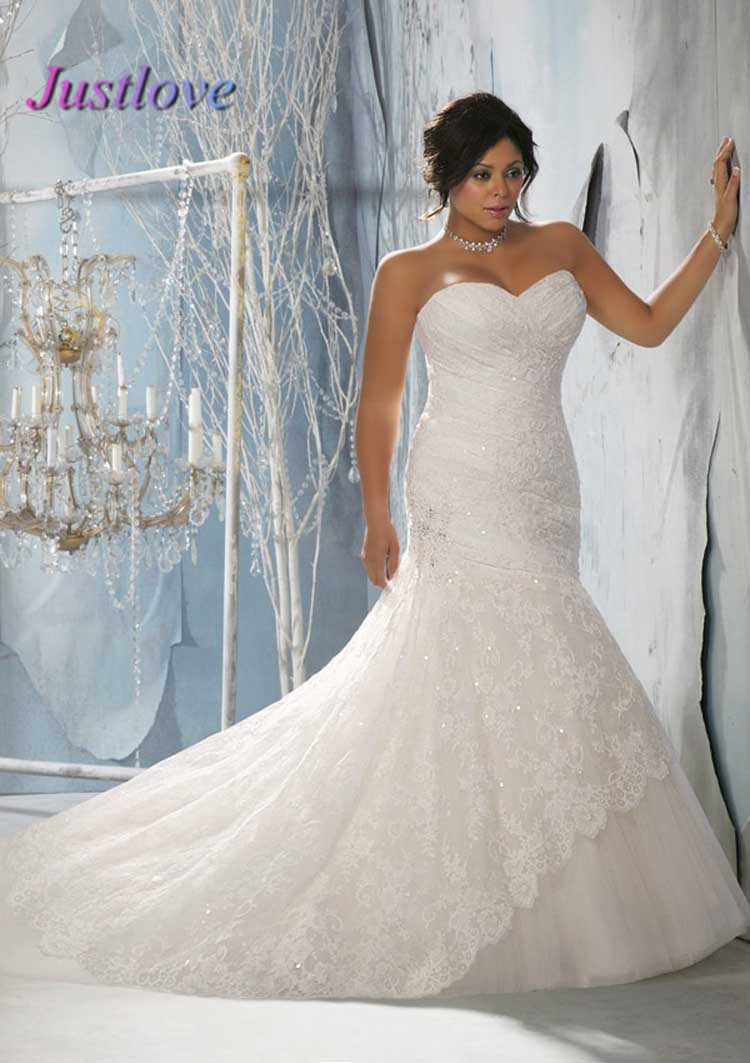 Top online sweetheart sleeveless strapless lace plus size for Best wedding dress styles for plus size brides