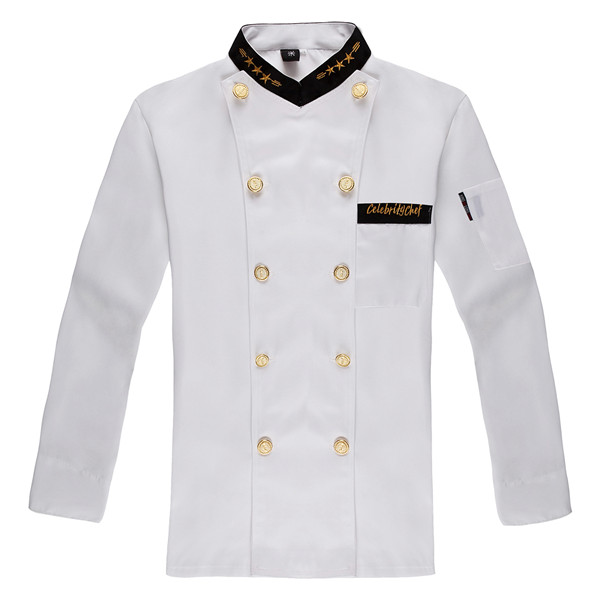 Fashionable Unisex Double-breasted Chef's Uniform, Long sleeve Chef Jackets Chef Kitchen Work Wear Chef service Gilt buttons(China (Mainland))
