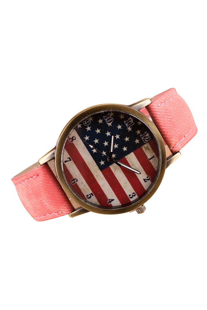 YCYS!Unisex American Flag Pattern Bronze Denim Band Wrist Watch Pink(China (Mainland))