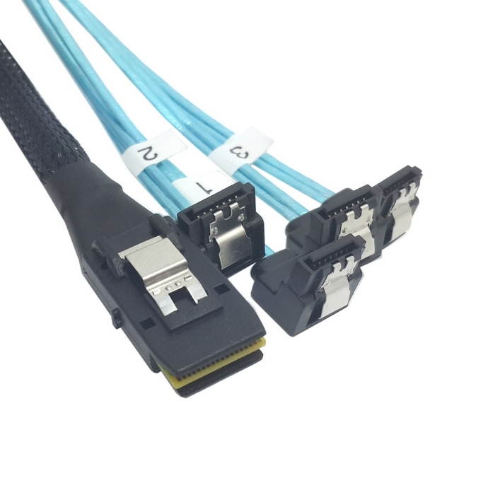 100cm Mini SAS 4i SFF-8087 36 Pin Host to 90 Degree Angled 4 SATA 7Pin Target HDD Hard Drive Splitter Cable 10Gbps(China (Mainland))