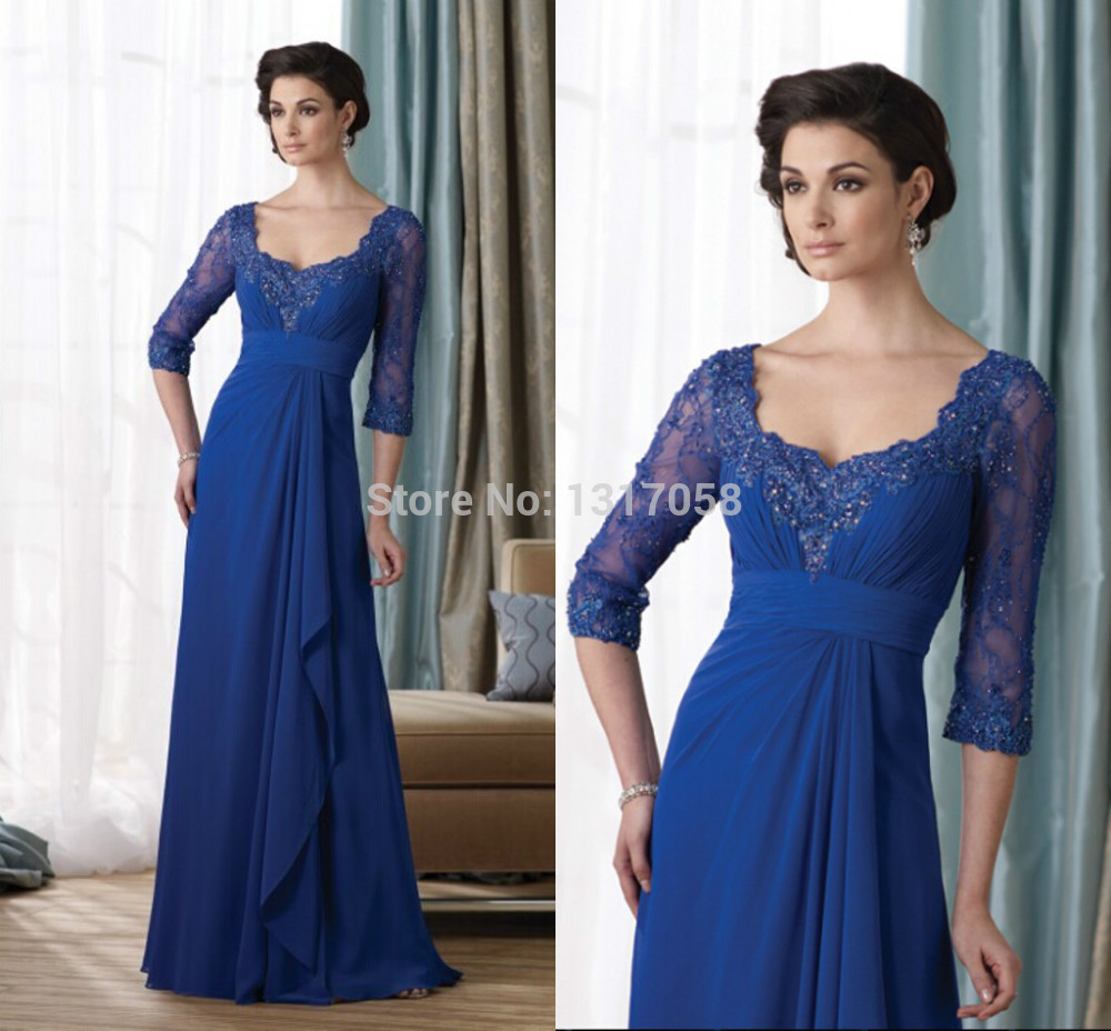 Online Party Dress Royal Blue High Waist Chiffon Long Sleeves Modest Mother Bride Dresses 2014 Plus Size - WhiteTulle Store store