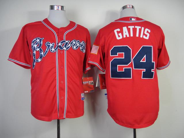 Online Shopping Mens Atlanta Braves Jersey #24 Evan Gattis Red Cool Base Baseball Jersey Embroidery Logos 5409(China (Mainland))