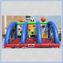 High Quality Inflatable Ball Game Free Shipping Easy Stall Funny and Exciting 3 Sports Game Football Basketball Rugby Game Hoop(China (Mainland))