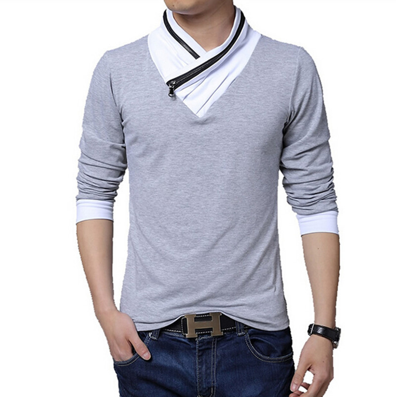 V neck long sleeve men t shirt patchwork large size 3xl for Large v neck t shirts