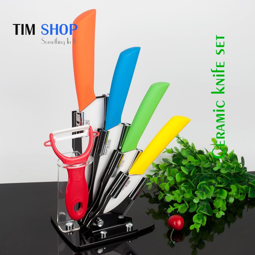 2016 New High Quality ceramic knives set 3 4 5 6 inch + peeler + knife holder, high quality ceramic knife set at Tim Shop(China (Mainland))