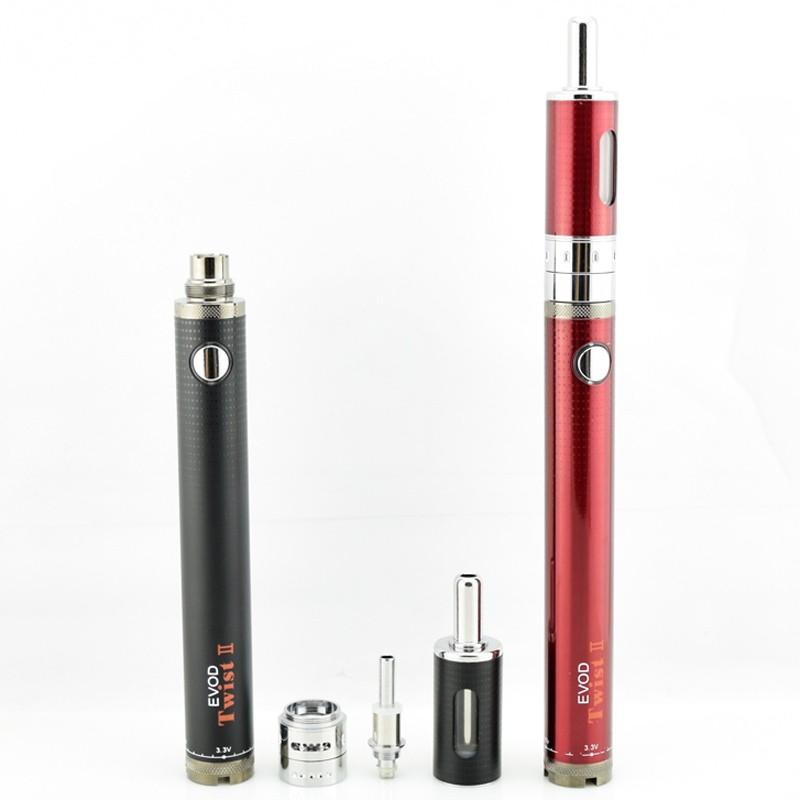 ถูก 5ชิ้นบุหรี่อิเล็กทรอนิกส์EvodบิดII starter kit 1600มิลลิแอมป์ชั่วโมง1.8มิลลิลิตรขดลวดคู่การควบคุมการไหลของอากาศที่สามารถปรับ510กระทู้เครื่องฉีดน้ำcigอี