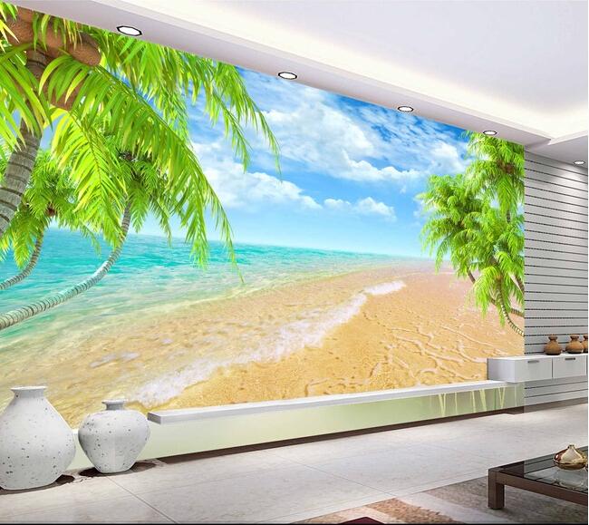Custom landscape wall mural, Hawaii Coconut Beach mural for the living room bedroom TV background wall vinyl papel de parede