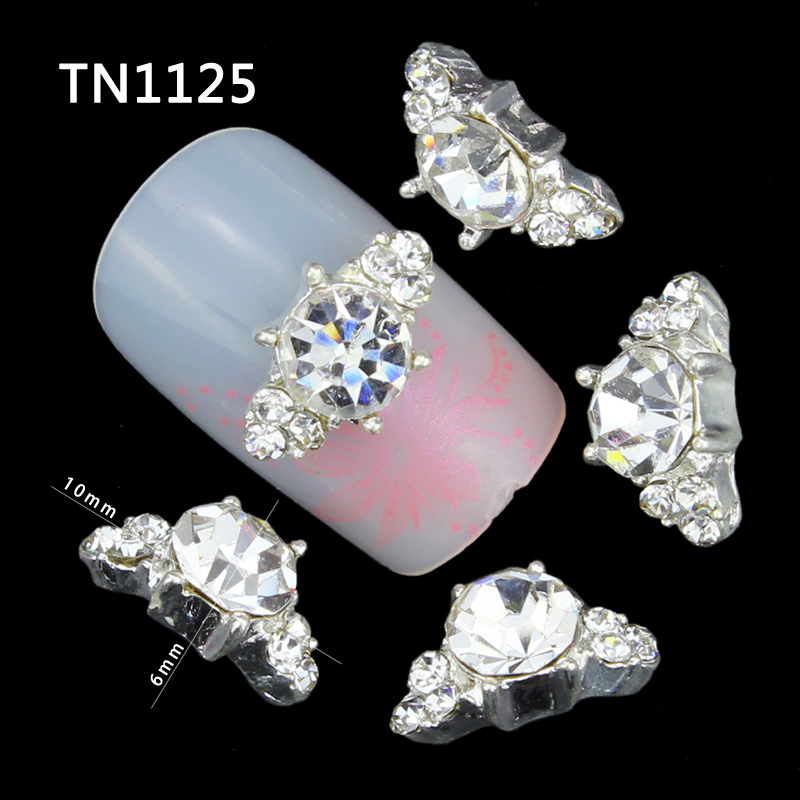 10 Pcs 3D Nail Art Decorations Diy Glitter Silver Alloy Charm Clear Rhinestones Crystal Marquise For Nails Tools(China (Mainland))