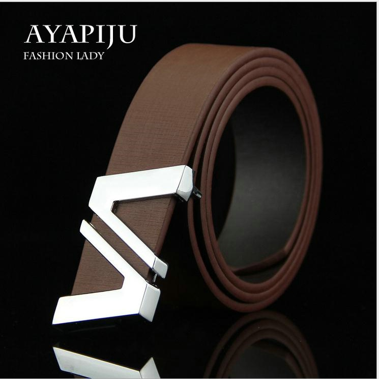 New Letter Brand Designer belts Men High quality Luxury PU leather lucci Belt Metal Buckle Strap Ceinture homme Feragamo Belt(China (Mainland))