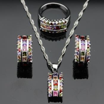 Много цвет драгоценных камней топаз чистое серебро ювелирные комплект для женщины ...