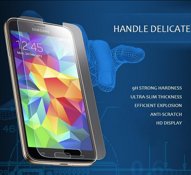 Hot! S5 Explosion-proof 0.26MM Tempered Glass For Samsung Galaxy S5 i9600 Premium Screen Anti Shatter Protector Film