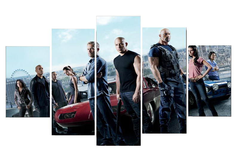 5PCS Printed Fast & Furious movie poster print picture on canvas Free shipping no frame painting home decor wall art(China (Mainland))