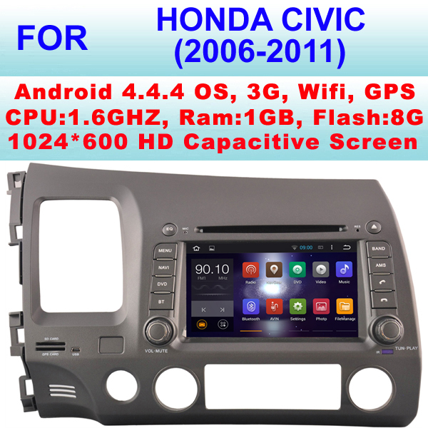 Car DVD Android For Honda Civic Car stereo (2006-2011) With Android 4.4.4,Support WiFi 3G,Pixel 1024*600,Steering wheel control(China (Mainland))
