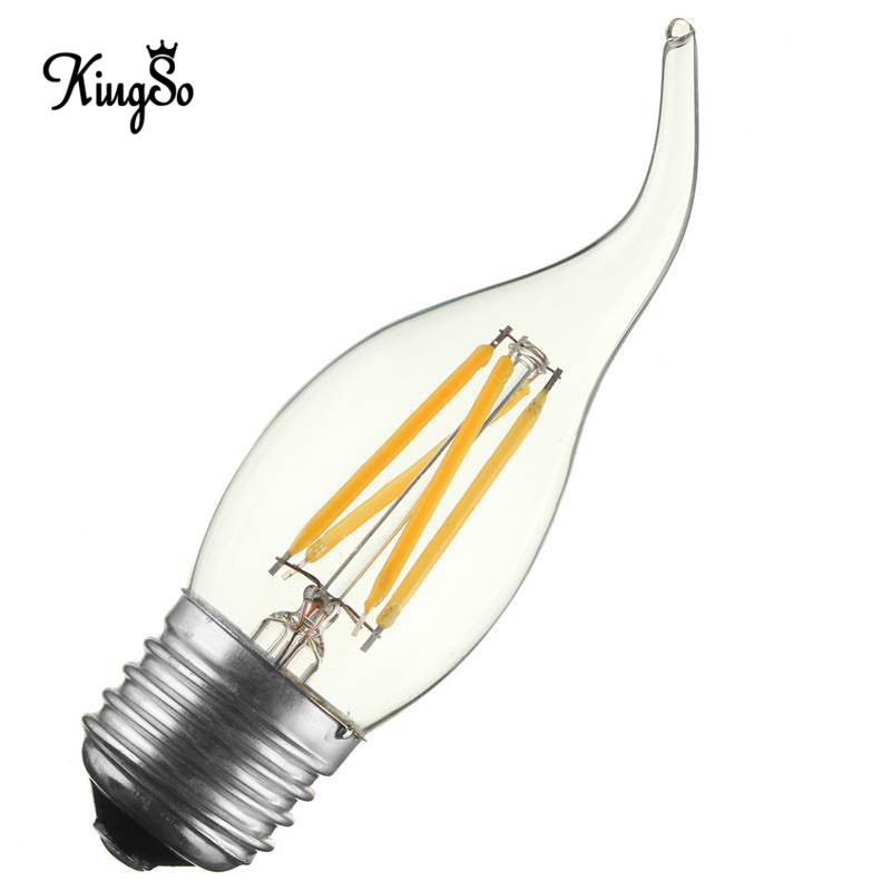 Kingso E27/E26 C35 4W LED Filament Candle Light Lamp Bulb Dimmable 400LM Chandelier Candelabra Pull Tail Edison Vintage AC110V(China (Mainland))