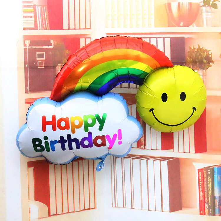 98*65cm Foil Balloons double side Happy Birthday Wedding Decoration Large size Smile Face Rainbow Globos balls Have A Nice Day(China (Mainland))