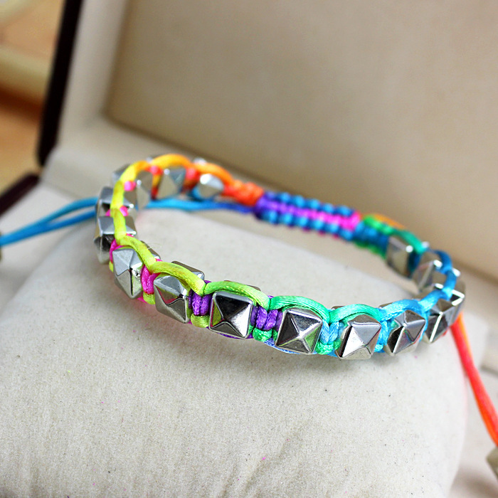 [min $10]weekend deals Neon flourcent spikes bracelet handmade 4 colors bst gift for women free shipping S109(China (Mainland))