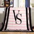Pink VS Secret Blanket Manta Fleece Blanket Throws on Sofa Bed Plane Travel Plaids Bedding Set
