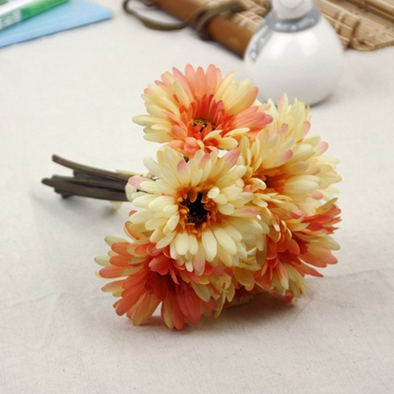 1 Bunch Silk Forest Style Daisy Artificial Flower Bouquet For Wedding Party Decoration DIY Scrapbooking Rose Fake Flowers(China (Mainland))