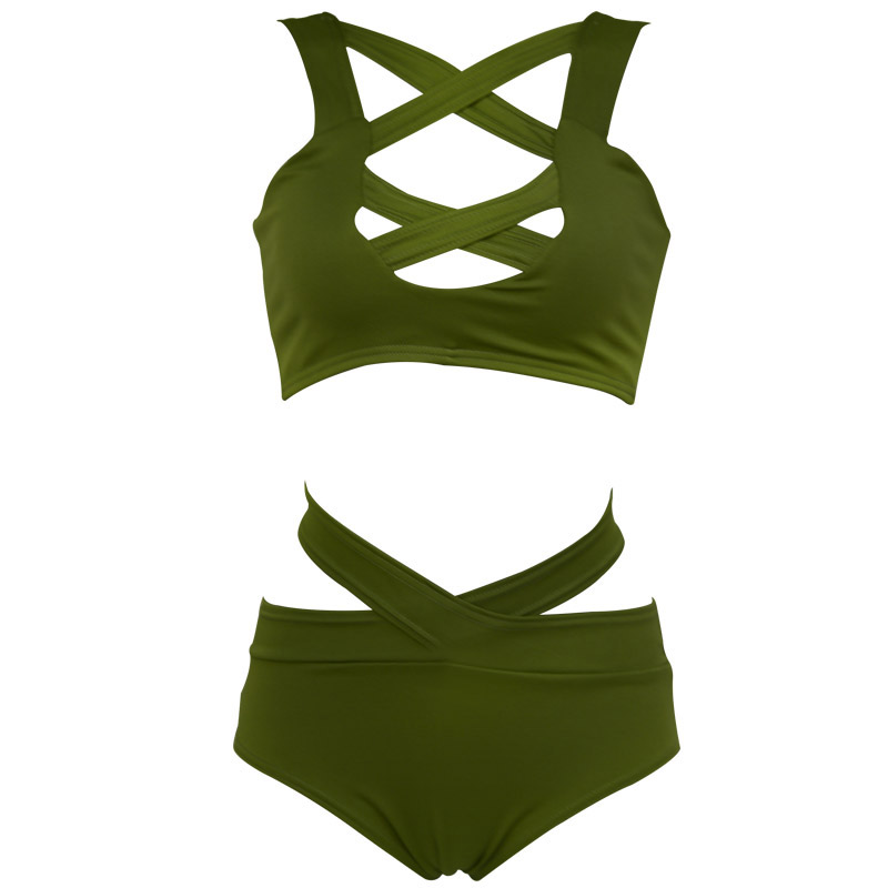 2017 Sexy Criss Cross Bikini Brazilian Bandage Swimsuit Women Push Up Swimwear Bikini Set Wrap Top Bathing Suit Biquini