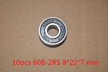 10pcs 608-2RS 608RS 608 2RS ABEC-7 8mm x 22mm x7mm double rubber sealing cover deep groove ball bearing for skate scooter #82-10(China (Mainland))