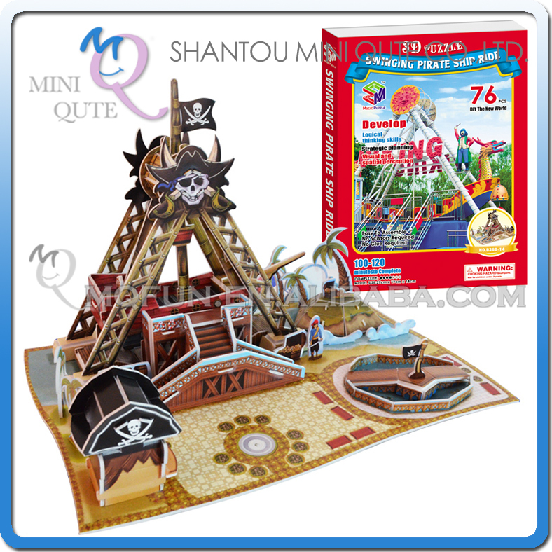 40pc/lot Mini Qute Pirate Ship Fairground building 3d paper puzzle model cardboard jigsaw puzzle game educational toy NO.B368-14(China (Mainland))