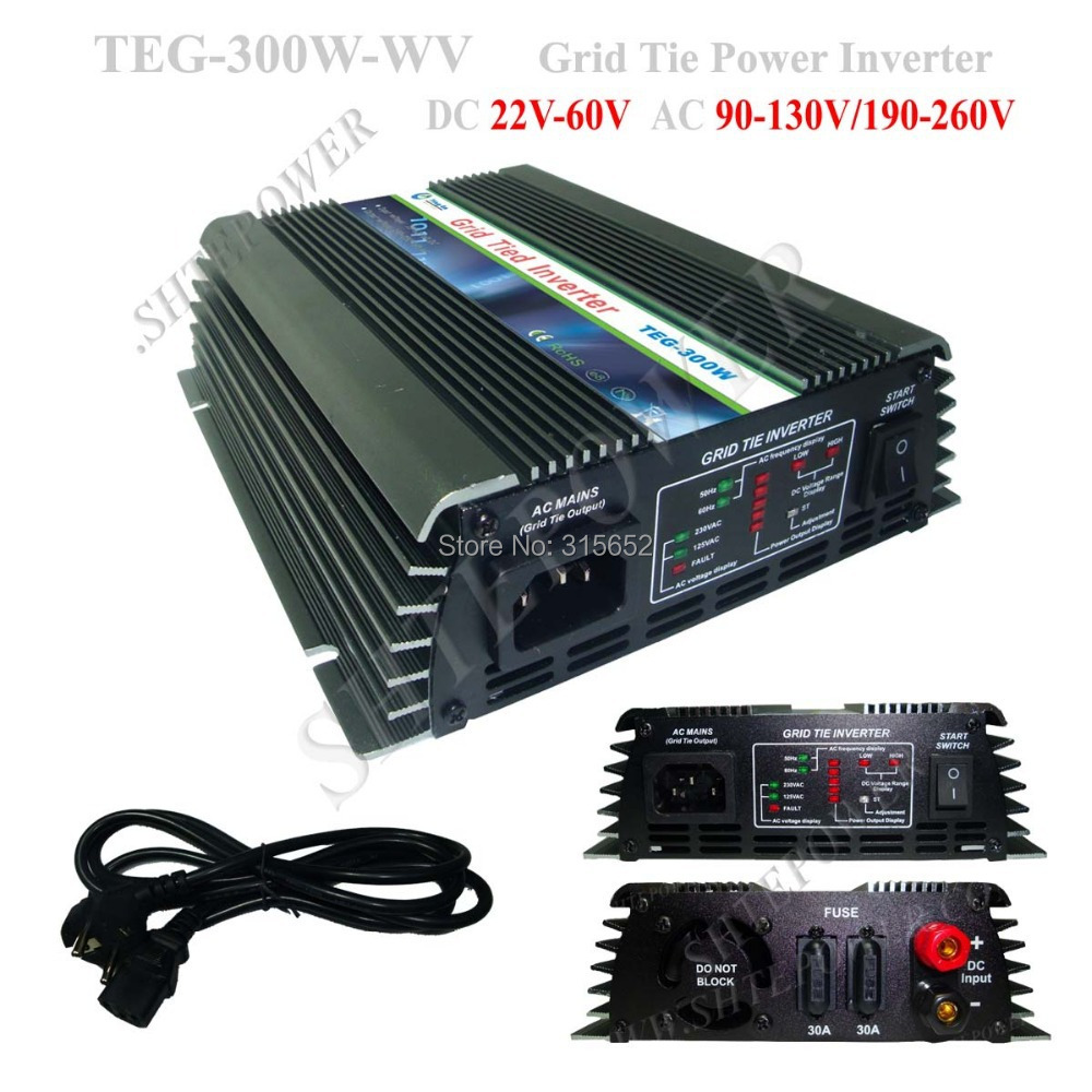 Micro Solar Grid Tie Inverter, 300W Pure Sine Wave Inverter 22V-60V(China (Mainland))