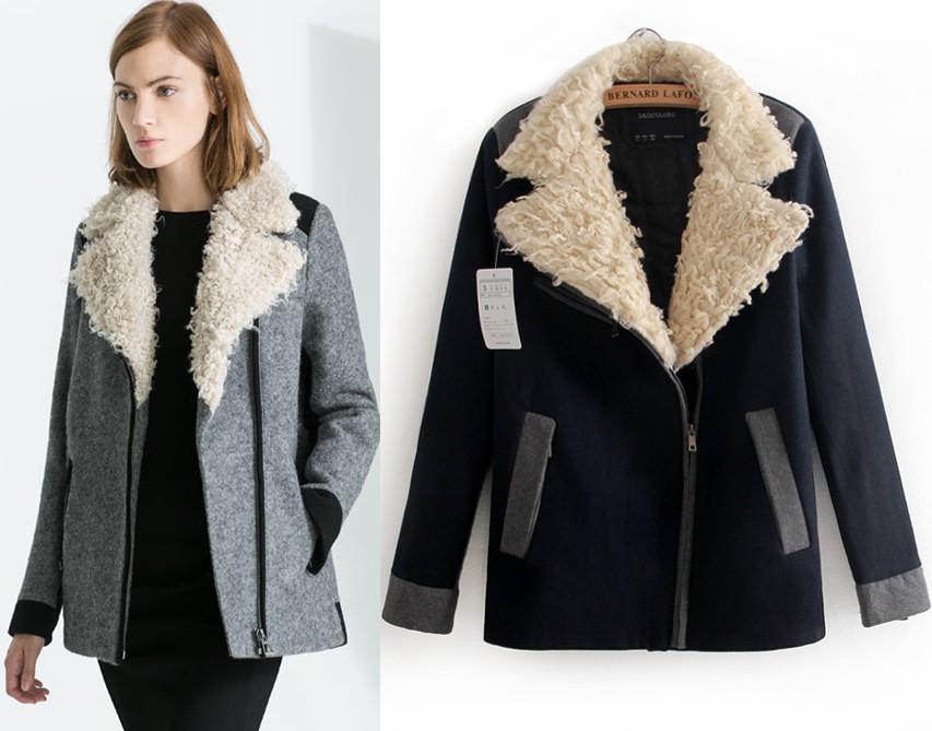 ZA Brand Design!2013 Winter New Designer Women Fashion Turn Fur Collar Long Warm Wool Trench Coat Jacket Outwear Tops