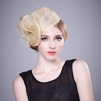 Wedding Vintage Hair Accessories Bridal Fascinator Sinamay Church Hat Hair Bands Haar 2016 Chapeau Femme Girls Clips For Womens(China (Mainland))