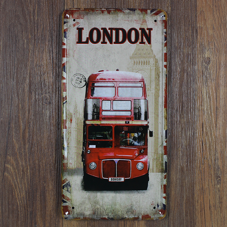 Retro license Car plates london England Red bus vintage metal tin signs garage painting plaque Sticker 15x30cm HB-068(China (Mainland))