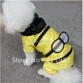 2014 Ultra-cute waterproof small bee-shaped pet dog raincoat small and medium-sized teddy dog poncho dog clothes B0084