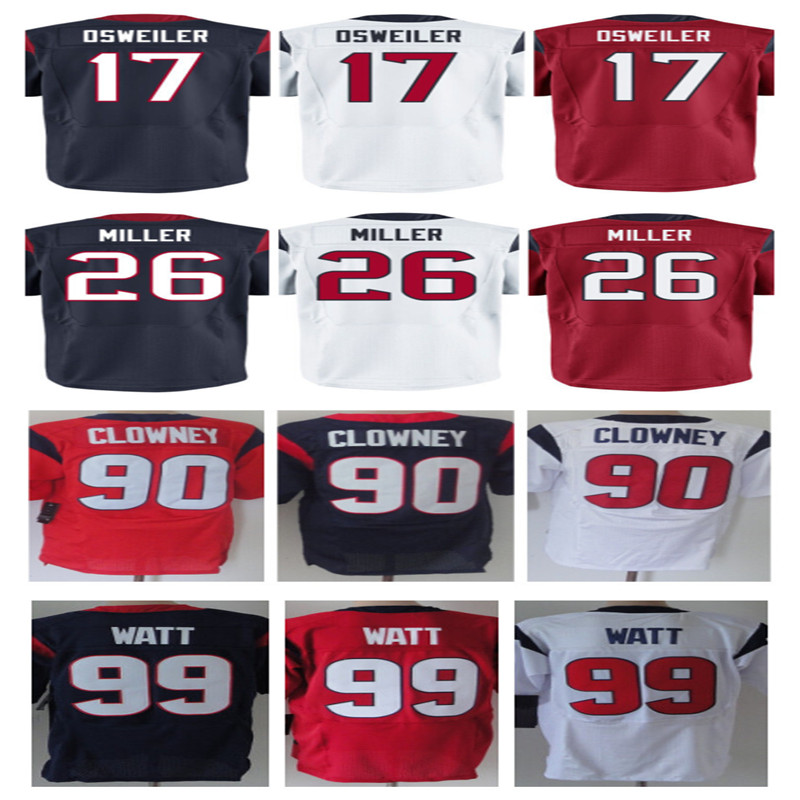 Cheap Sale #17 Brock Osweiler 26 Lamar Miller #99 JJ Watt Men's Elite Jersey Blue White Red Jersey SIZE M-3XL Free Shipping(China (Mainland))