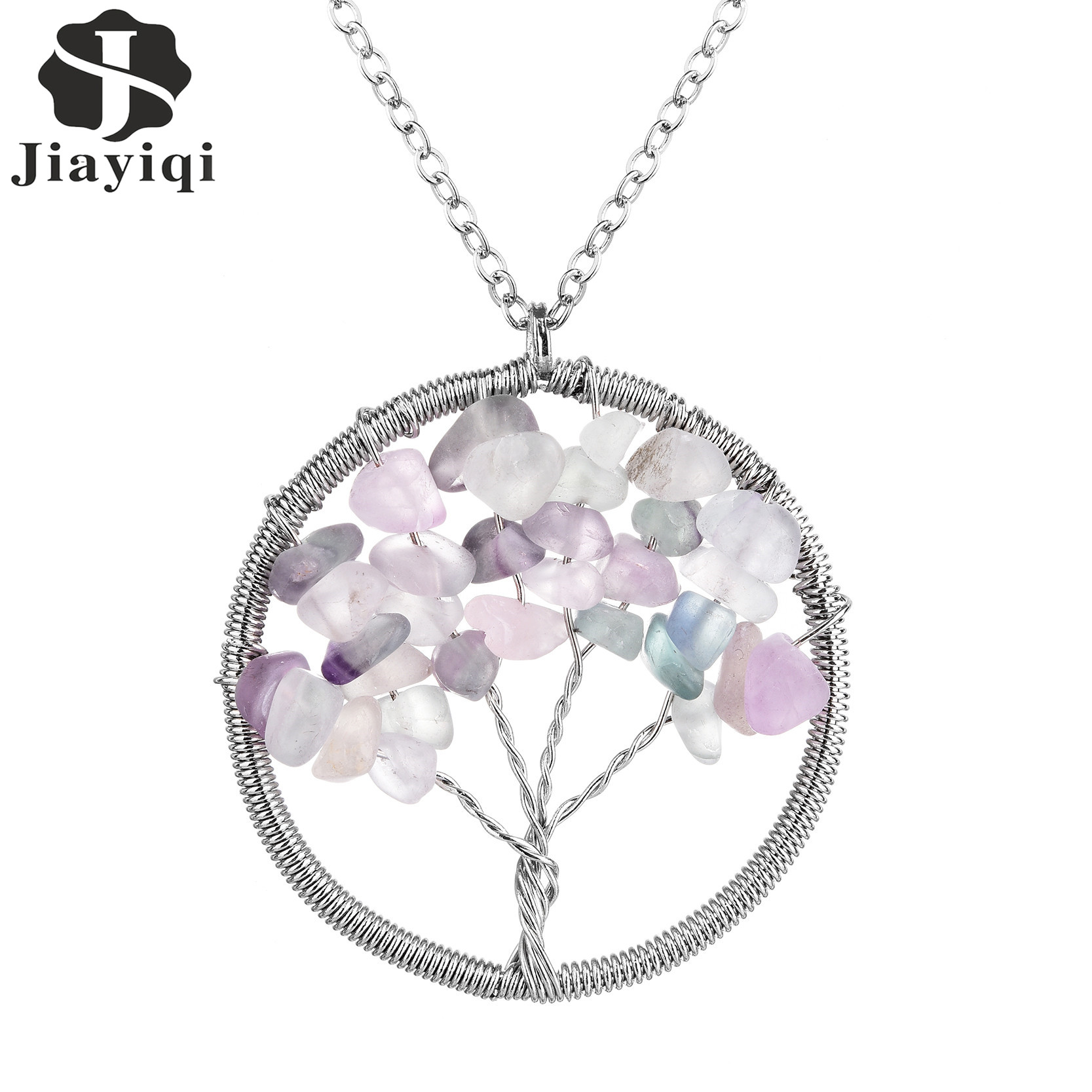 2016 New Arrival Fine Jewelry Tree Of Life Pendant Natural Stone Necklace Alloy Chain Necklace for Women Fashion Accessories(China (Mainland))